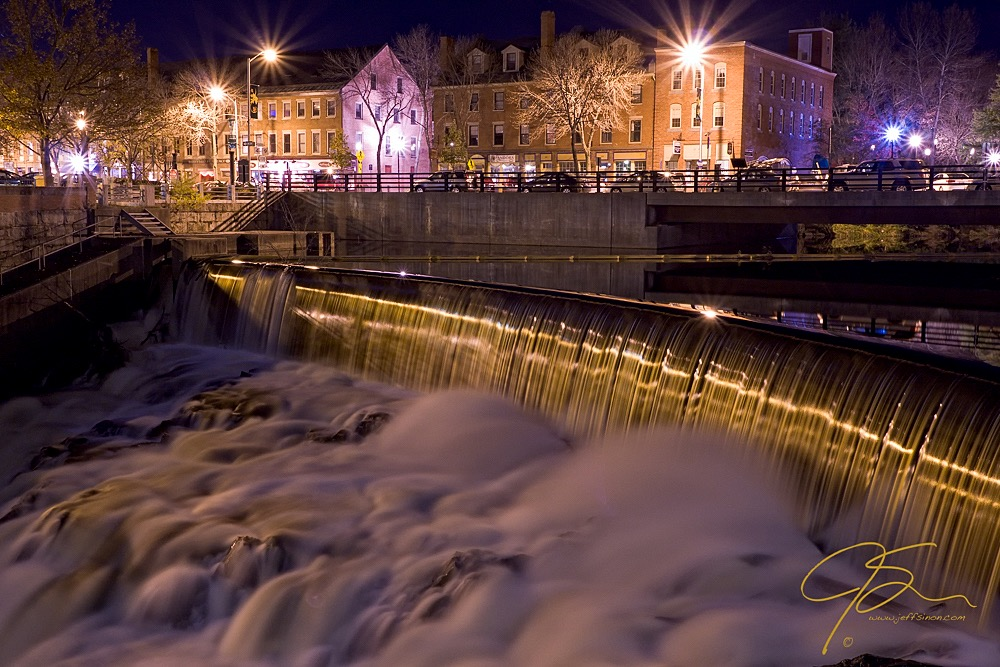 Cocheco River Falls, Dover, NH At Night.