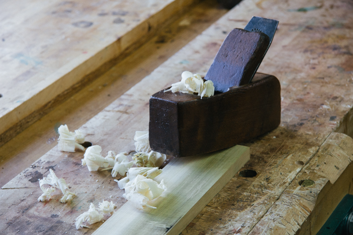 Wooden Smoothing Plane with Shavings