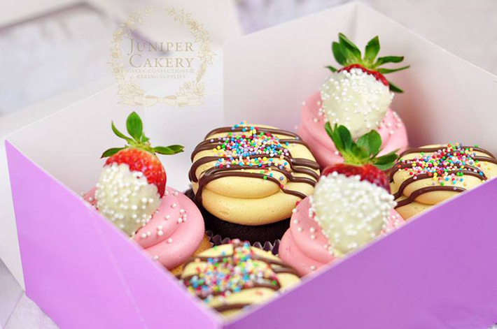 Chocolate drizzled cupcakes by Juniper Cakery