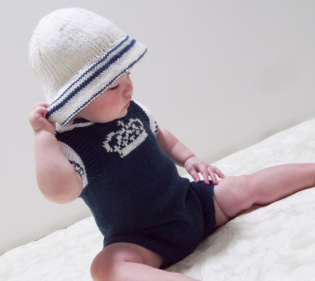 Dungarees, Polo Shirt, and Sun Hat Set knitting pattern