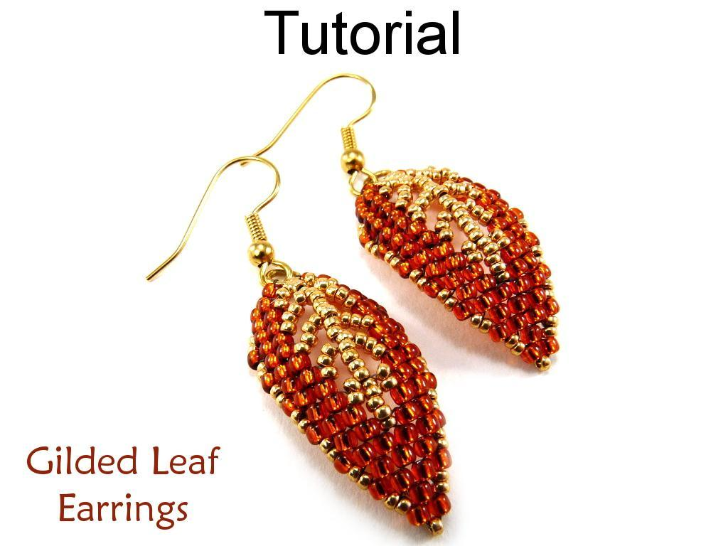 Leaf Earrings Diagonal Peyote