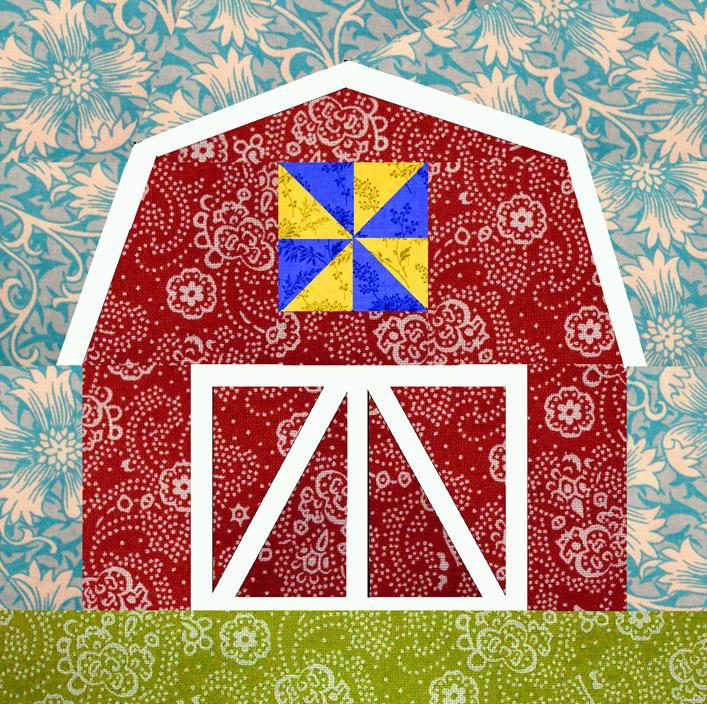 Red Barn paper pieced block