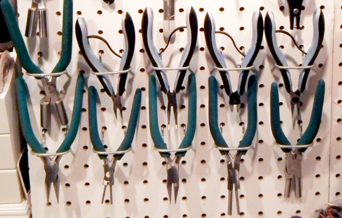 Pegboard storage for jewelry tools