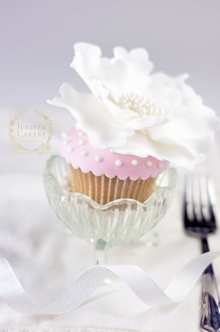 Polka dot royal icing cupcake