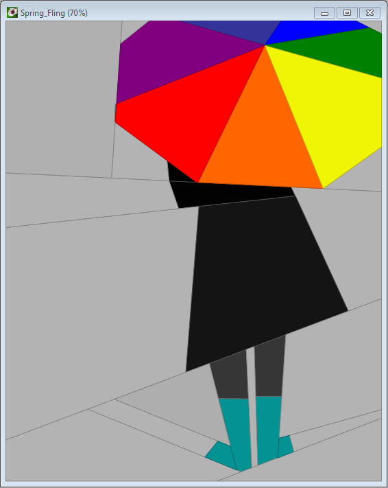 person with umbrella paper pieced