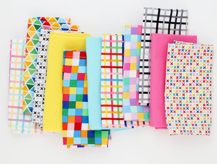 DIY Dinner Napkins with Rainbow Remix Fabric