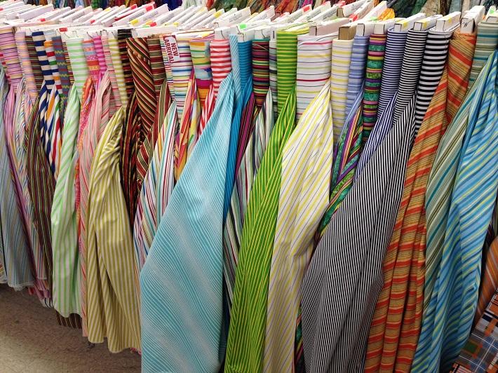 striped fabrics at Mary Jos cloth store