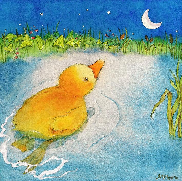 Duckling in moonlight on pond