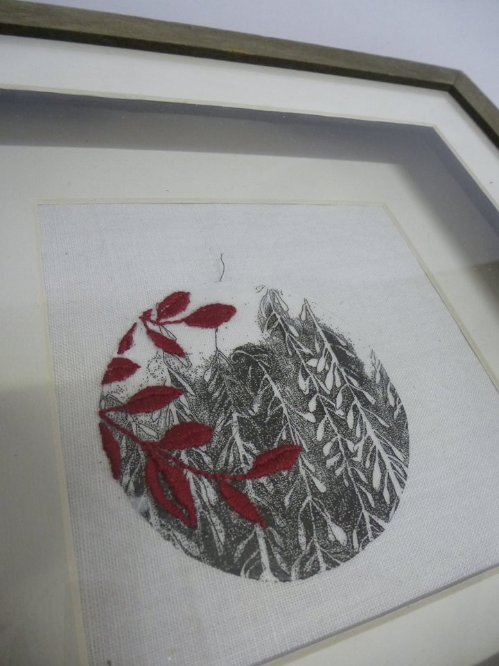 drawings printed onto fabric and over stitched by Julia Jowett