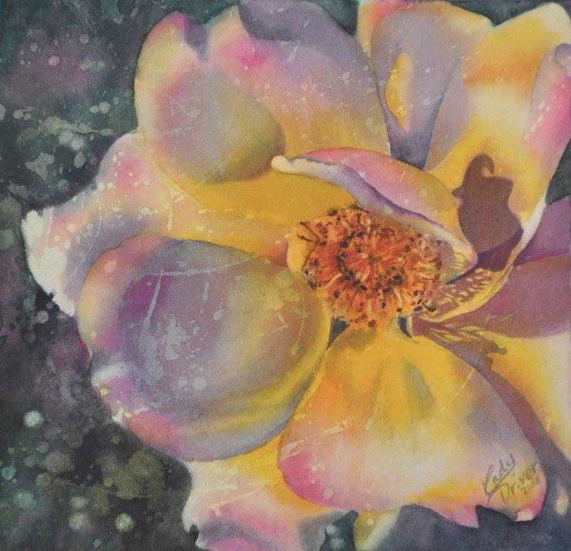 Resist painting example - Tea Rose resist