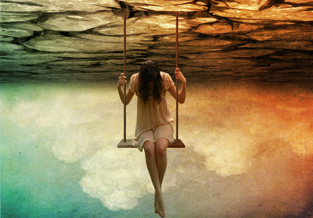 Photograph of a woman on a swing