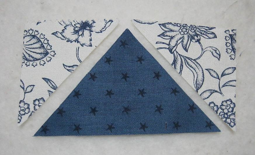traditional flying geese unit with three separate fabric triangles