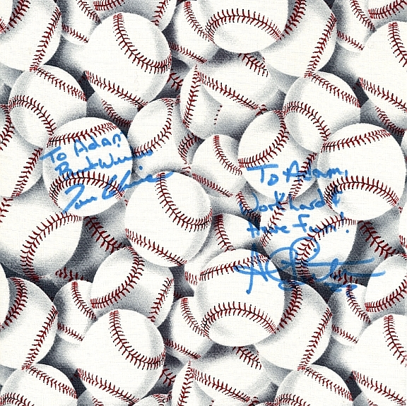 Baseball fabric autographed