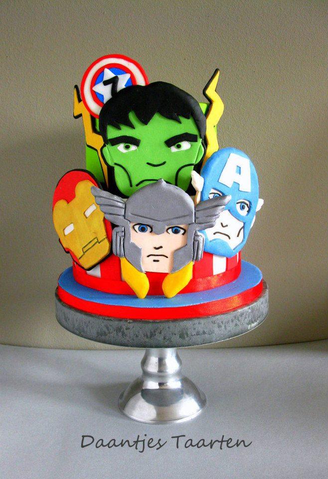 Avengers character cake