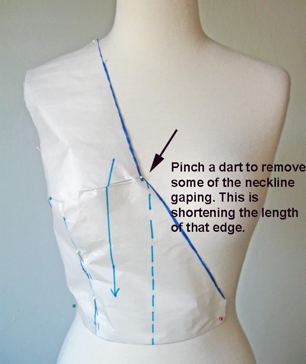 fold out neckline dart