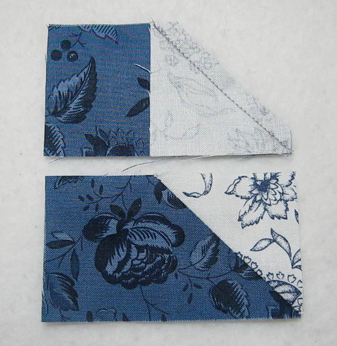 square sewn onto rectangle with excess fabric trimmed off