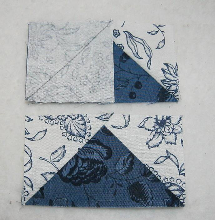 second square sewn onto rectangle and completed corner triangle flying geese unit