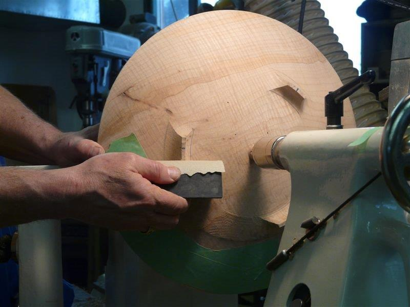 sanding the profile of the bowl