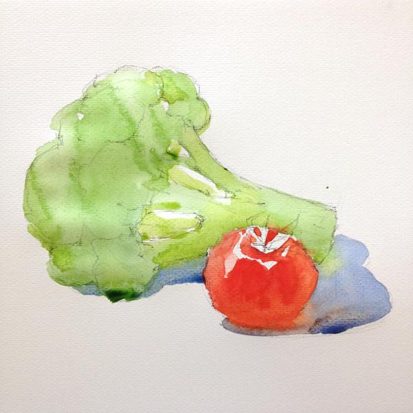 Broccoli and tomato - step 1