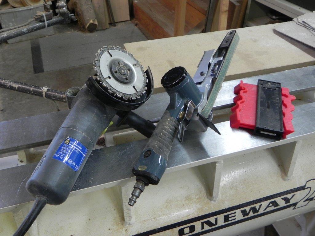 profile gauge, power carver and small belt sander