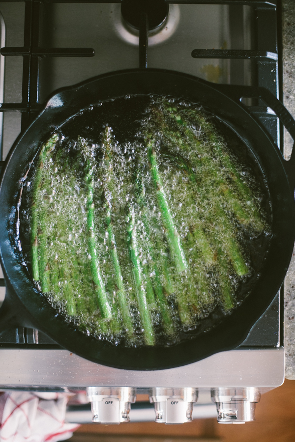 Frying asparagus in a cast iron skillet