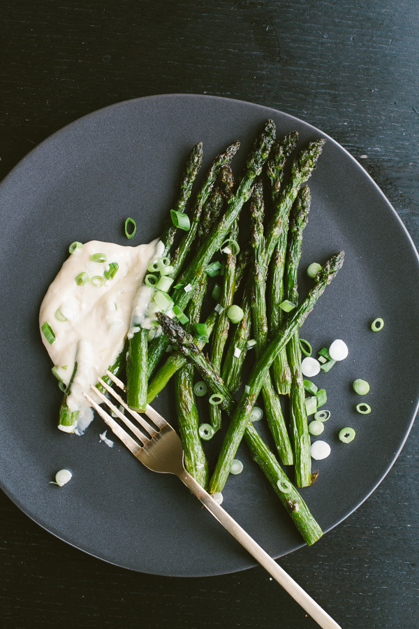 Tasty fried Asparagus served with delicious White Miso Aioli