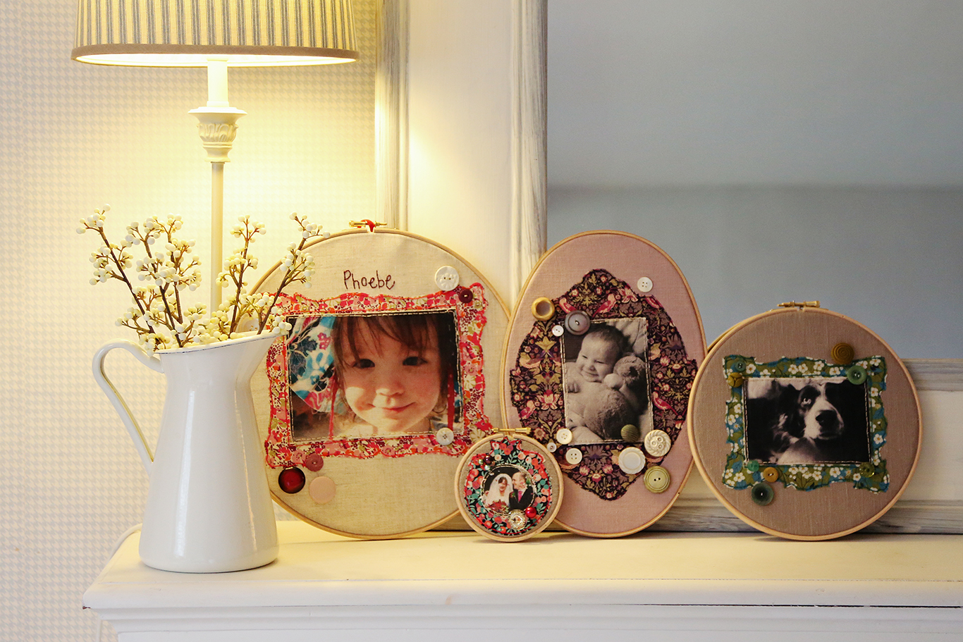 A beautful fabric photo frame with a fabric photo by Marna Lunt