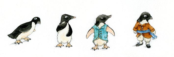 Mini penguin watercolor studies