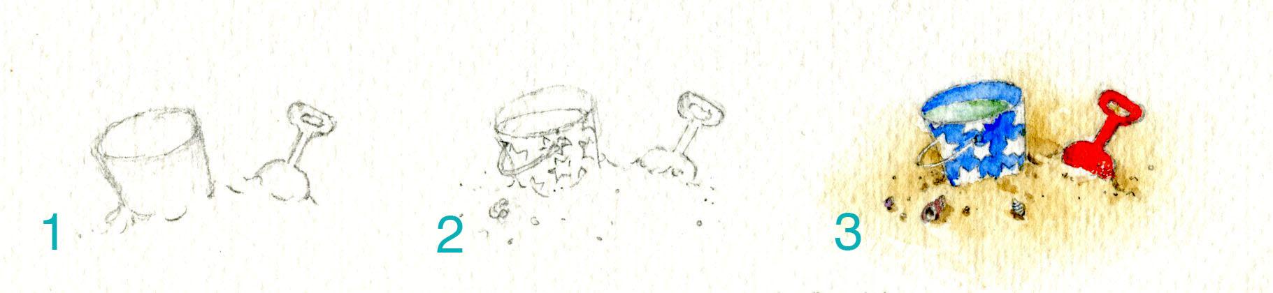 Pail and shovel watercolor  vignette