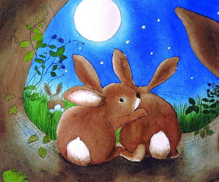 Sweet bunnies in moonlight