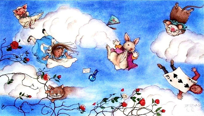 Alice in Wonderland characters in the wind