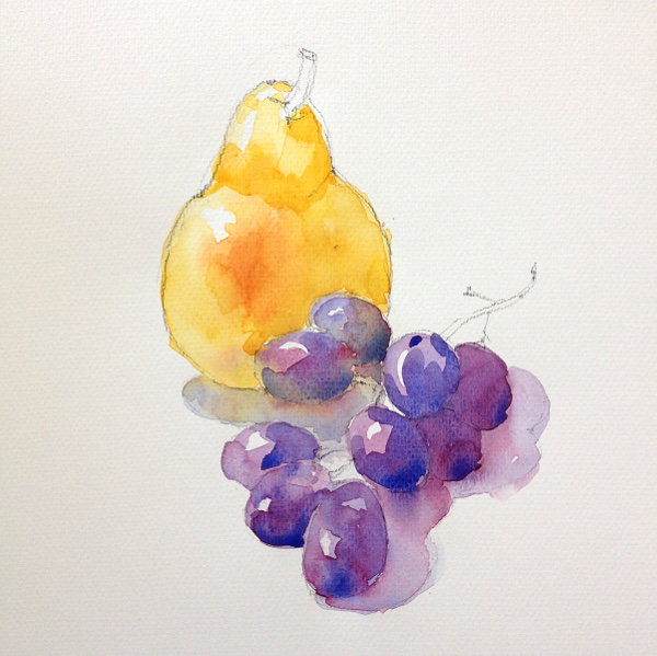 Grapes and pear - step 2