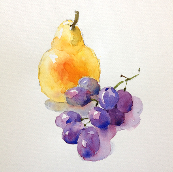 Grapes and pear - step 3