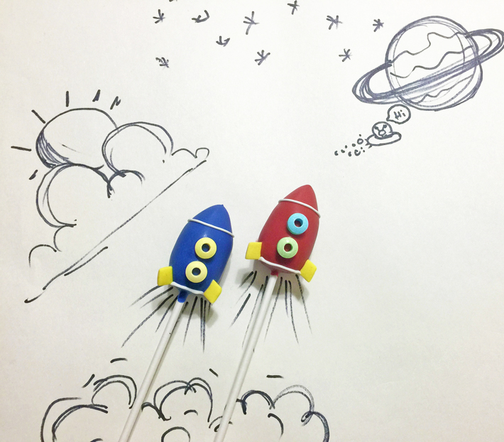 Rocket Ship Cake Pops