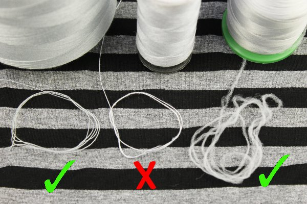 left to right: polyester - cotton - wooly nylon