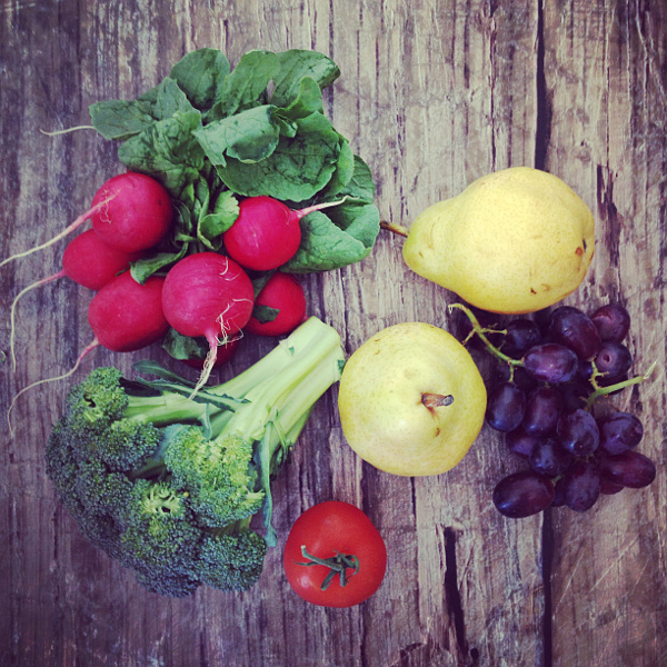 Fruits and vegetables to paint