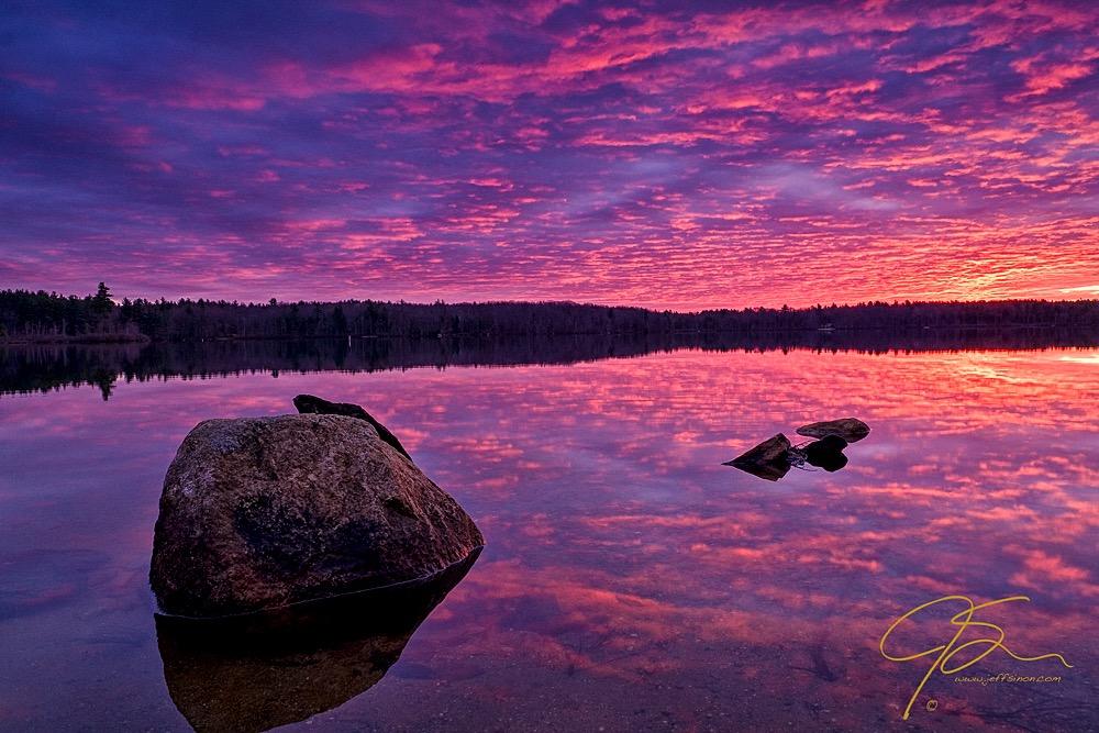 sunrise over Baxter Lake during blue hour