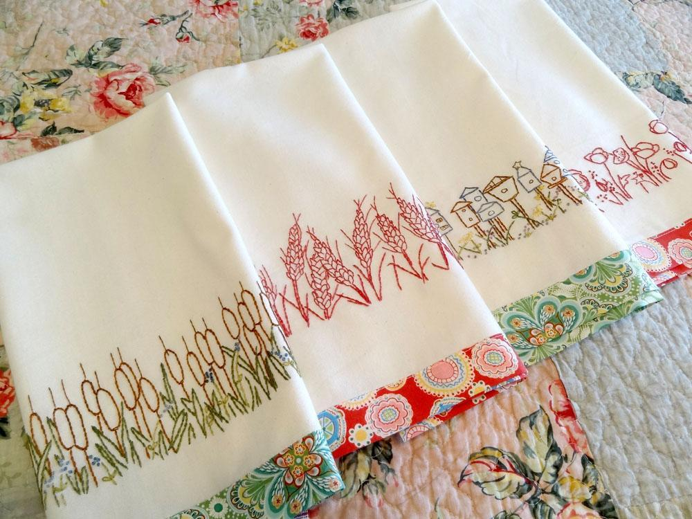Redwork Towels Nature Hand Embroidery