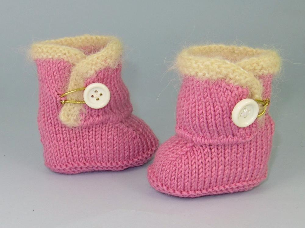 Baby Fur Trim One-Button Booties FREE Knitting Pattern