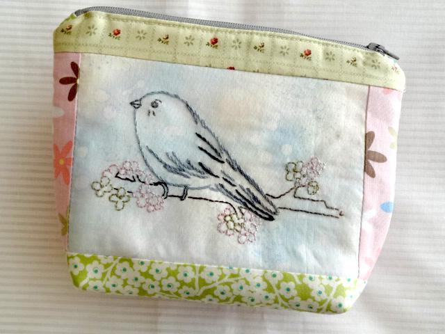 Chickadee Bird Hand Embroidery Zip Pouch