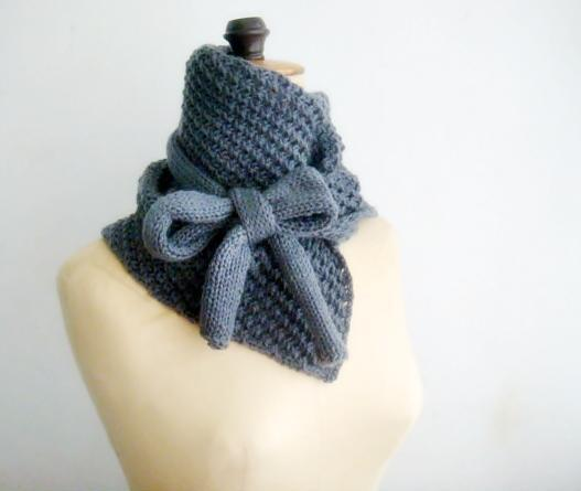 Knitted Cowl Bow Neck Warmer knitting pattern