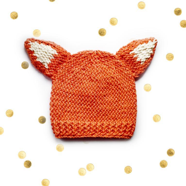 Knitted Woodland Fox Cub Baby Hat knitting pattern