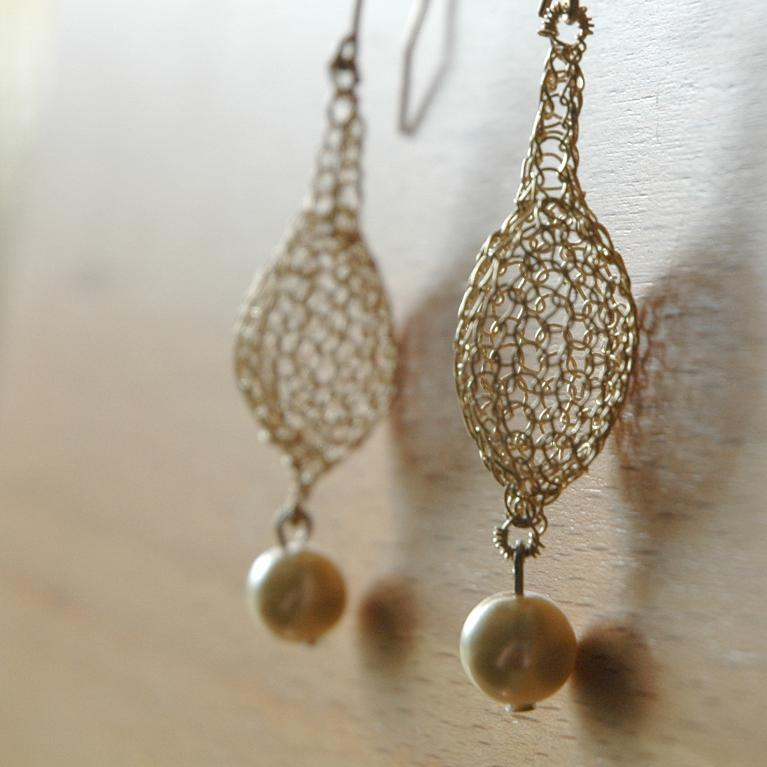 Golden Drops with a Pearl Earring