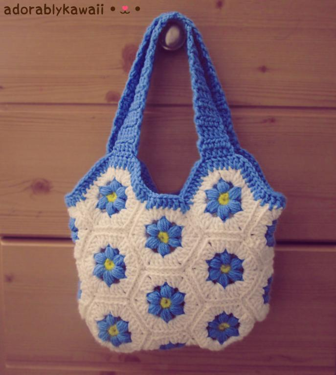 Flower Hexagon Bag free crochet pattern