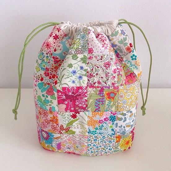 Patchwork drawstring bag pouch