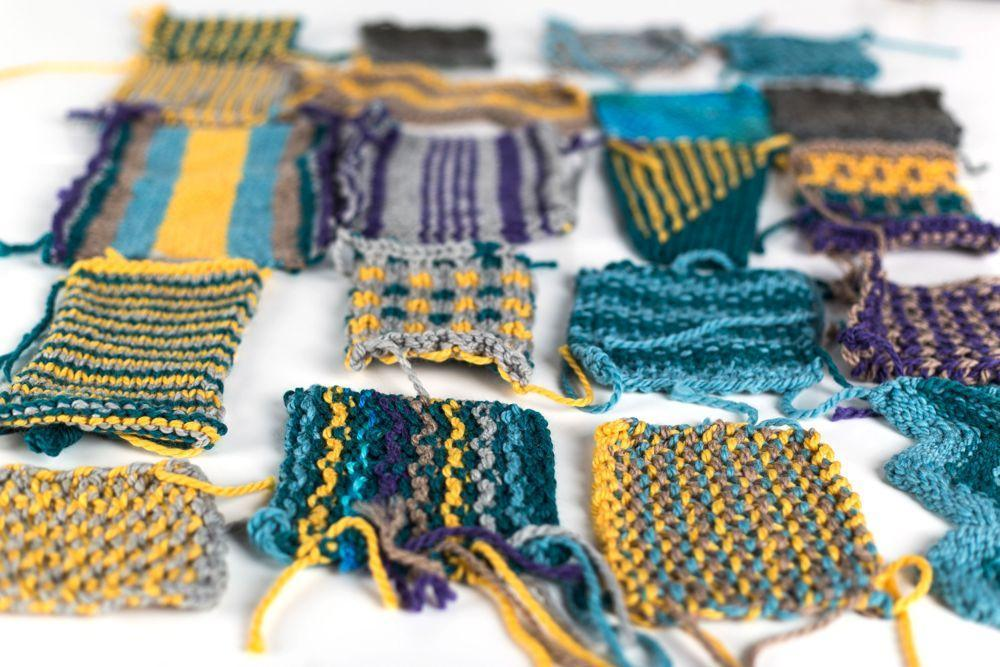 Stranded colorwork knitting swatches