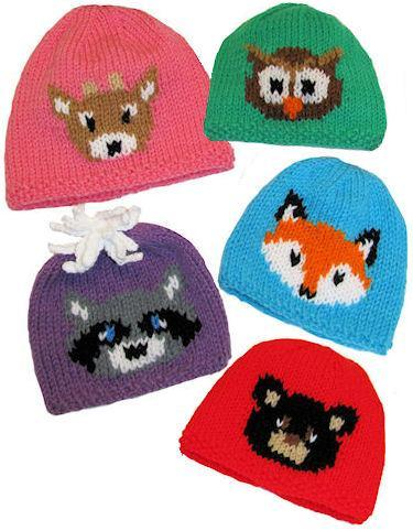 Forest Friends Hats knitting pattern