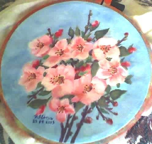 Round oil painting