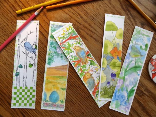 Bluebird Garden Watercolor Bookmarks
