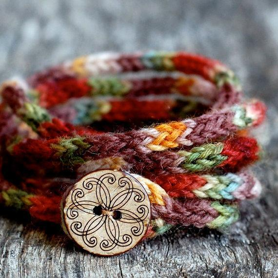 Rustic I Cord Bracelet knitting pattern